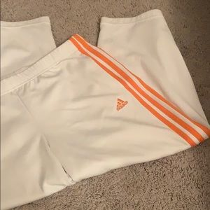 Adidas white cropped track pants